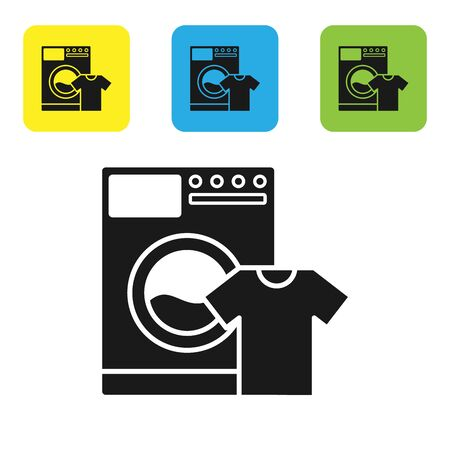 Black Washer and t-shirt icon isolated on white background. Washing machine icon. Clothes washer, laundry machine. Home appliance symbol. Set icons colorful square buttons. Vector Illustration