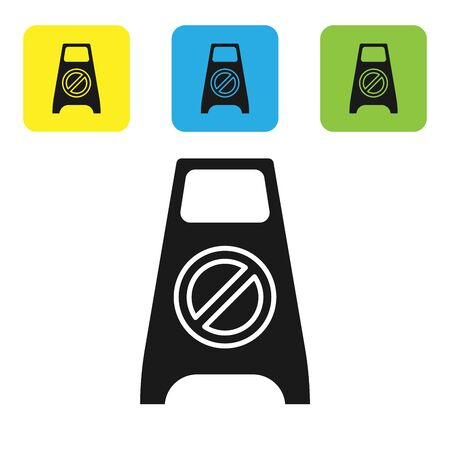 Black Wet floor and cleaning in progress icon isolated on white background. Cleaning service concept. Set icons colorful square buttons. Vector Illustration
