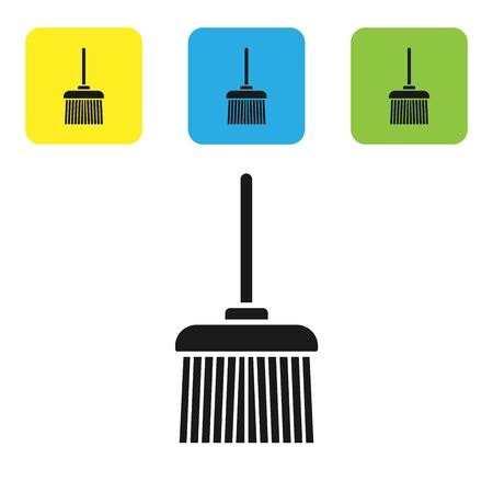 Black Handle broom icon isolated on white background. Cleaning service concept. Set icons colorful square buttons. Vector Illustration