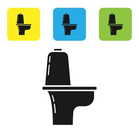 Black Toilet bowl icon isolated on white background. Set icons colorful square buttons. Vector Illustration Standard-Bild - 131495409