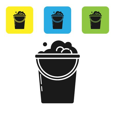 Black Bucket with foam and bubbles icon isolated on white background. Cleaning service concept. Set icons colorful square buttons. Vector Illustration Ilustração