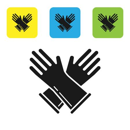 Black Rubber gloves icon isolated on white background. Latex hand protection sign. Housework cleaning equipment symbol. Set icons colorful square buttons. Vector Illustration Иллюстрация