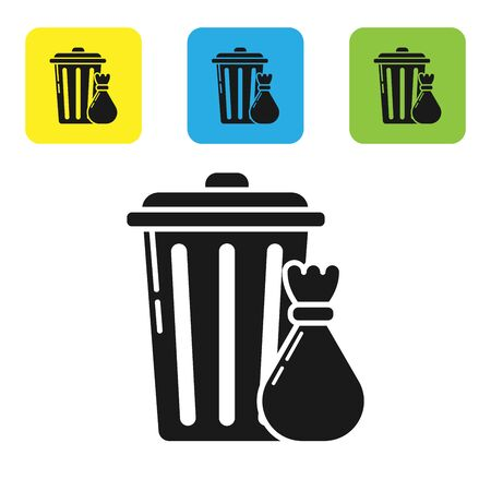 Black Trash can and garbage bag icon isolated on white background. Garbage bin sign. Recycle basket icon. Office trash icon. Set icons colorful square buttons. Vector Illustration