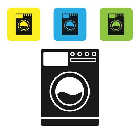 Black Washer icon isolated on white background. Washing machine icon. Clothes washer - laundry machine. Home appliance symbol. Set icons colorful square buttons. Vector Illustration