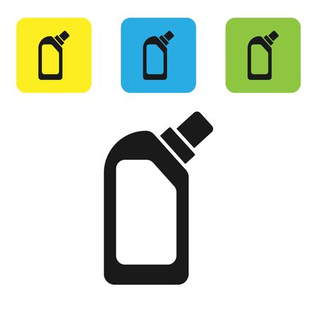 Black Plastic bottle for liquid laundry detergent, bleach, dishwashing liquid or another cleaning agent icon isolated on white background. Set icons colorful square buttons. Vector Illustration