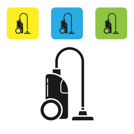 Black Vacuum cleaner icon isolated on white background. Set icons colorful square buttons. Vector Illustration  イラスト・ベクター素材