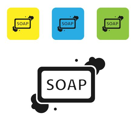 Black Bar of soap with foam icon isolated on white background. Soap bar with bubbles. Set icons colorful square buttons. Vector Illustration