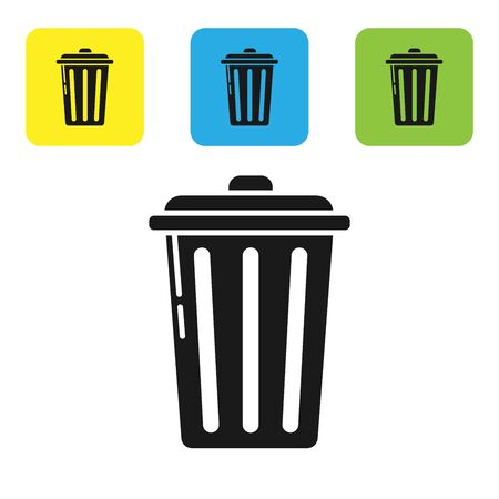 Black Trash can icon isolated on white background. Garbage bin sign. Recycle basket icon. Office trash icon. Set icons colorful square buttons. Vector Illustration