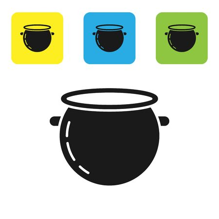 Black Halloween witch cauldron icon isolated on white background. Happy Halloween party. Set icons colorful square buttons. Vector Illustration