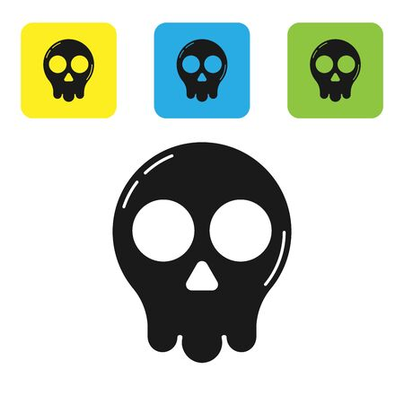 Black Skull icon isolated on white background. Happy Halloween party. Set icons colorful square buttons. Vector Illustration Çizim