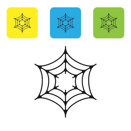 Black Spider web icon isolated on white background. Cobweb sign. Happy Halloween party. Set icons colorful square buttons. Vector Illustration