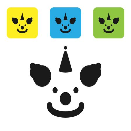 Black Clown head icon isolated on white background. Set icons colorful square buttons. Vector Illustration Ilustracja
