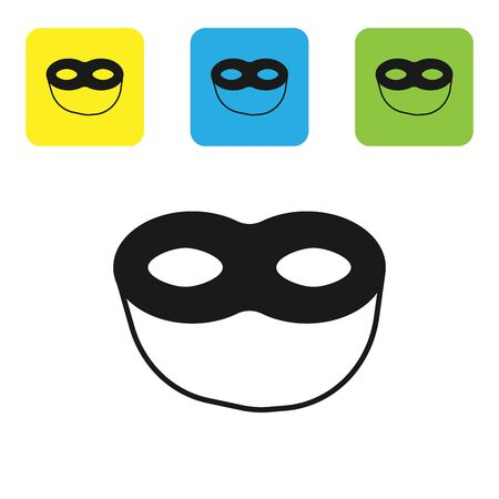 Black Festive mask icon isolated on white background. Set icons colorful square buttons. Vector Illustration