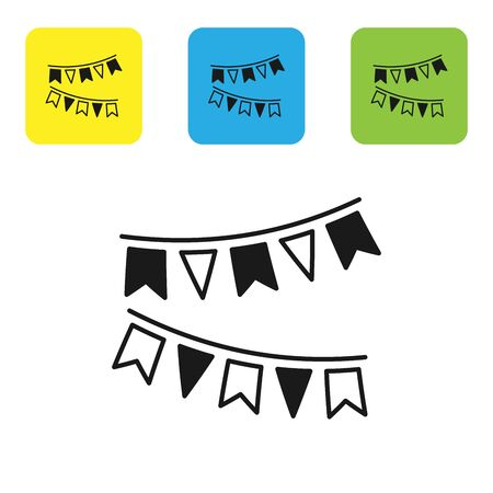 Black Carnival garland with flags icon isolated on white background. Party pennants for birthday celebration, festival and fair decoration. Set icons colorful square buttons. Vector Illustration Stock Illustratie
