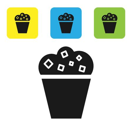Black Popcorn in cardboard box icon isolated on white background. Popcorn bucket box. Set icons colorful square buttons. Vector Illustration