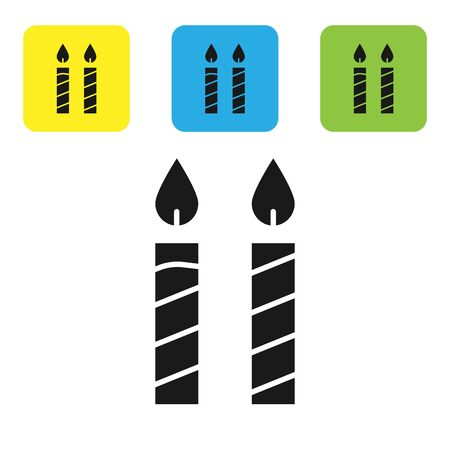 Black Birthday cake candles icon isolated on white background. Set icons colorful square buttons. Vector Illustration 向量圖像