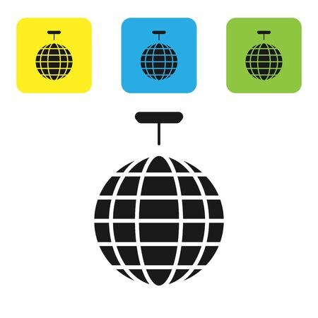 Black Disco ball icon isolated on white background. Set icons colorful square buttons. Vector Illustration