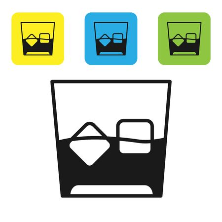Black Glass of whiskey and ice cubes icon isolated on white background. Set icons colorful square buttons. Vector Illustration