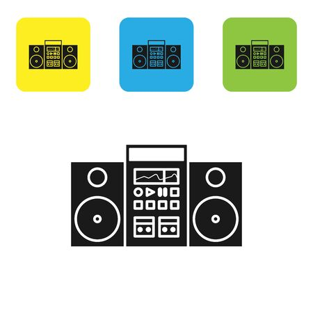 Black Home stereo with two speakers icon isolated on white background. Music system. Set icons colorful square buttons. Vector Illustration
