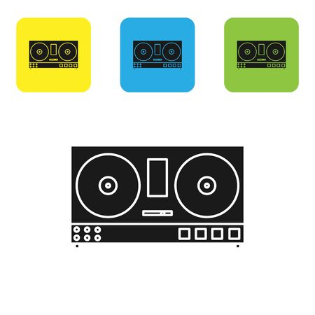 Black DJ remote for playing and mixing music icon isolated on white background. DJ mixer complete with vinyl player and remote control. Set icons colorful square buttons. Vector Illustration Иллюстрация