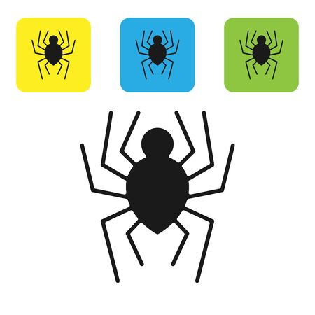 Black Spider icon isolated on white background. Happy Halloween party. Set icons colorful square buttons. Vector Illustration
