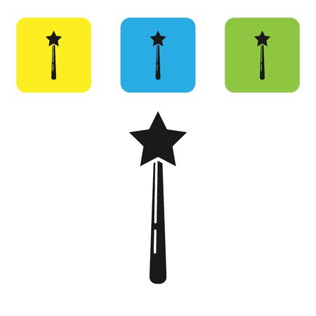 Black Magic wand icon isolated on white background. Star shape magic accessory. Magical power. Set icons colorful square buttons. Vector Illustration