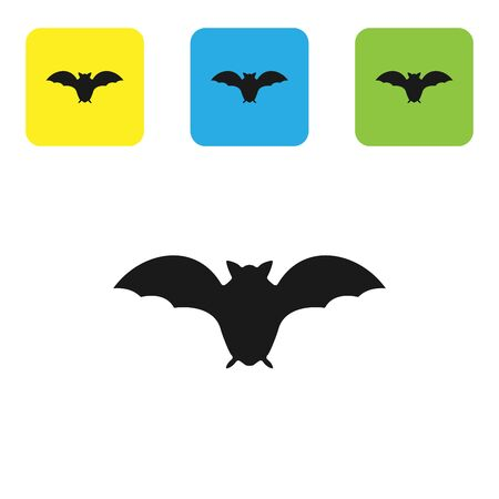 Black Flying bat icon isolated on white background. Set icons colorful square buttons. Vector Illustration