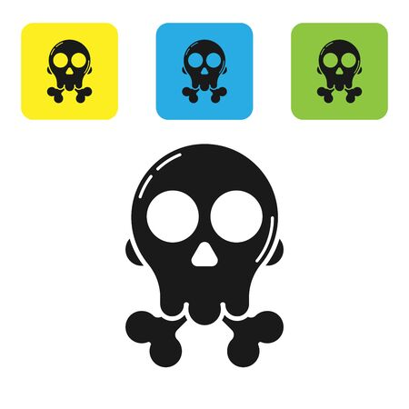 Black Skull on crossbones icon isolated on white background. Happy Halloween party. Set icons colorful square buttons. Vector Illustration