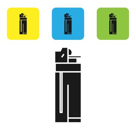 Black Lighter icon isolated on white background. Set icons colorful square buttons. Vector Illustration 일러스트