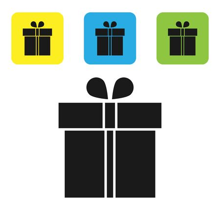 Black Gift box icon isolated on white background. Set icons colorful square buttons. Vector Illustration