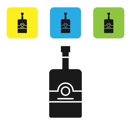 Black Whiskey bottle icon isolated on white background. Set icons colorful square buttons. Vector Illustration Reklamní fotografie - 131511099