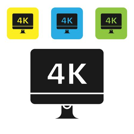Black Computer PC monitor display with 4k video technology icon isolated on white background. Set icons colorful square buttons. Vector Illustration