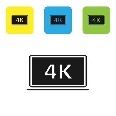 Black Laptop screen with 4k video technology icon isolated on white background. Set icons colorful square buttons. Vector Illustration Иллюстрация