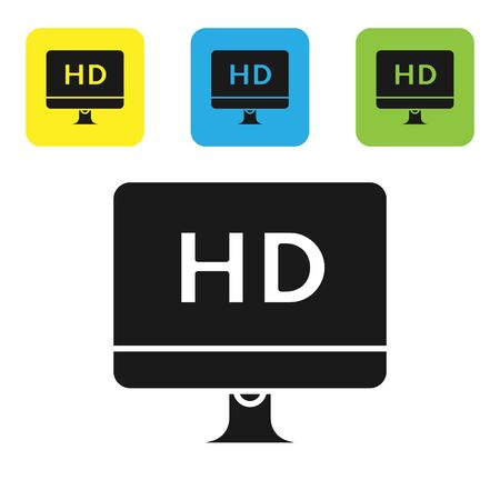 Black Computer PC monitor display with HD video technology icon isolated on white background. Set icons colorful square buttons. Vector Illustration