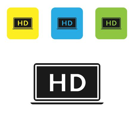 Black Laptop screen with HD video technology icon isolated on white background. Set icons colorful square buttons. Vector Illustration Иллюстрация