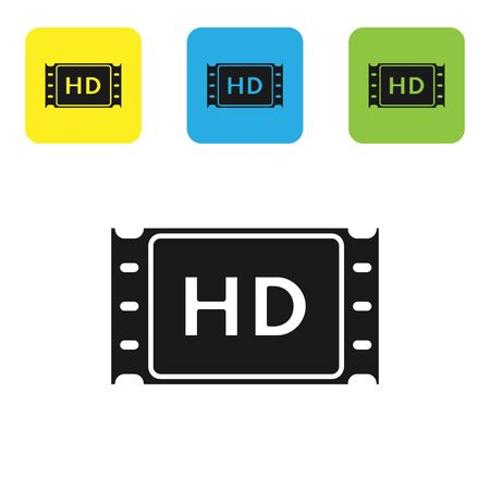 Black 4k movie, tape, frame icon isolated on white background. Set icons colorful square buttons. Vector Illustration