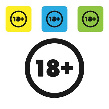 Black Plus 18 movie icon isolated on white background. Adult content. Under 18 years sign. Set icons colorful square buttons. Vector Illustration Çizim