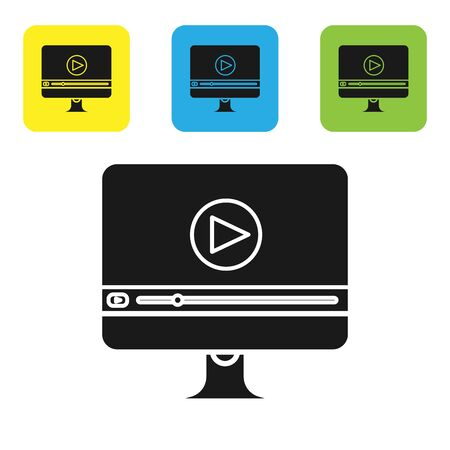 Black Online play video icon isolated on white background. Computer monitor and film strip with play sign. Set icons colorful square buttons. Vector Illustration