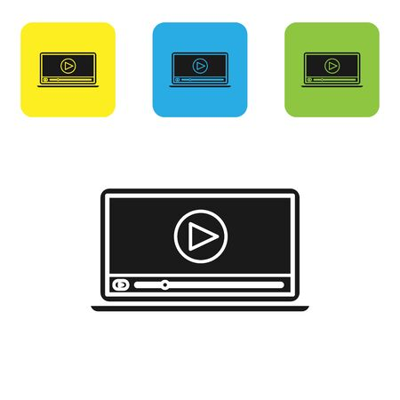 Black Online play video icon isolated on white background. Laptop and film strip with play sign. Set icons colorful square buttons. Vector Illustration 일러스트