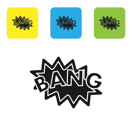 Black Bang boom, gun Comic text speech bubble balloon icon isolated on white background. Set icons colorful square buttons. Vector Illustration