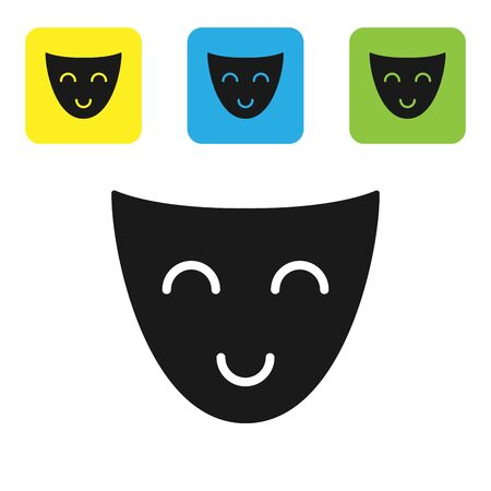 Black Comedy theatrical mask icon isolated on white background. Set icons colorful square buttons. Vector Illustration 일러스트