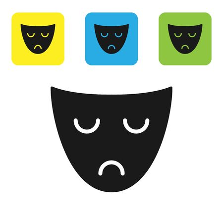 Black Drama theatrical mask icon isolated on white background. Set icons colorful square buttons. Vector Illustration