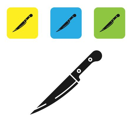 Black Knife icon isolated on white background. Cutlery symbol. Set icons colorful square buttons. Vector Illustration Illustration