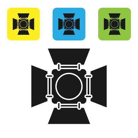 Black Movie spotlight icon isolated on white background. Light Effect. Scene, Studio, Show. Set icons colorful square buttons. Vector Illustration