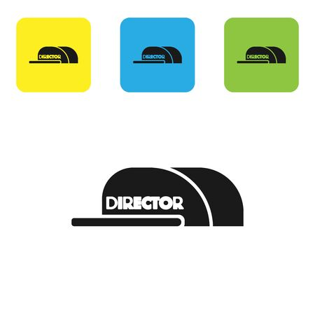 Black Cap with inscription director icon isolated on white background. Set icons colorful square buttons. Vector Illustration Stock Illustratie