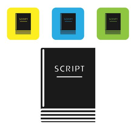 Black Scenario icon isolated on white background. Script reading concept for art project, films, theaters. Set icons colorful square buttons. Vector Illustration