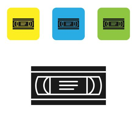 Black VHS video cassette tape icon isolated on white background. Set icons colorful square buttons. Vector Illustration