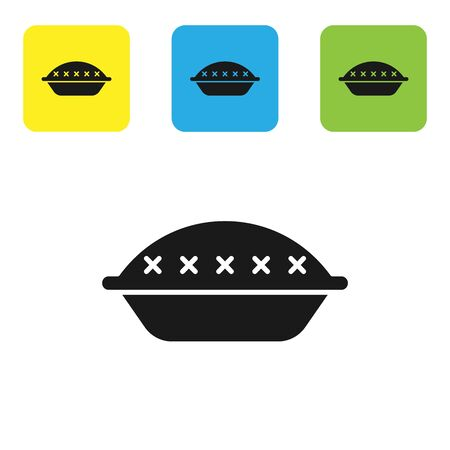 Black Homemade pie icon isolated on white background. Set icons colorful square buttons. Vector Illustration Vettoriali