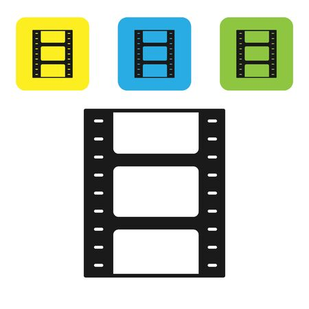 Black Play Video icon isolated on white background. Film strip sign. Set icons colorful square buttons. Vector Illustration