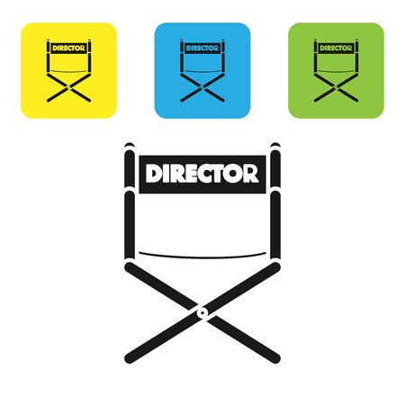 Black Director movie chair icon isolated on white background. Film industry. Set icons colorful square buttons. Vector Illustration
